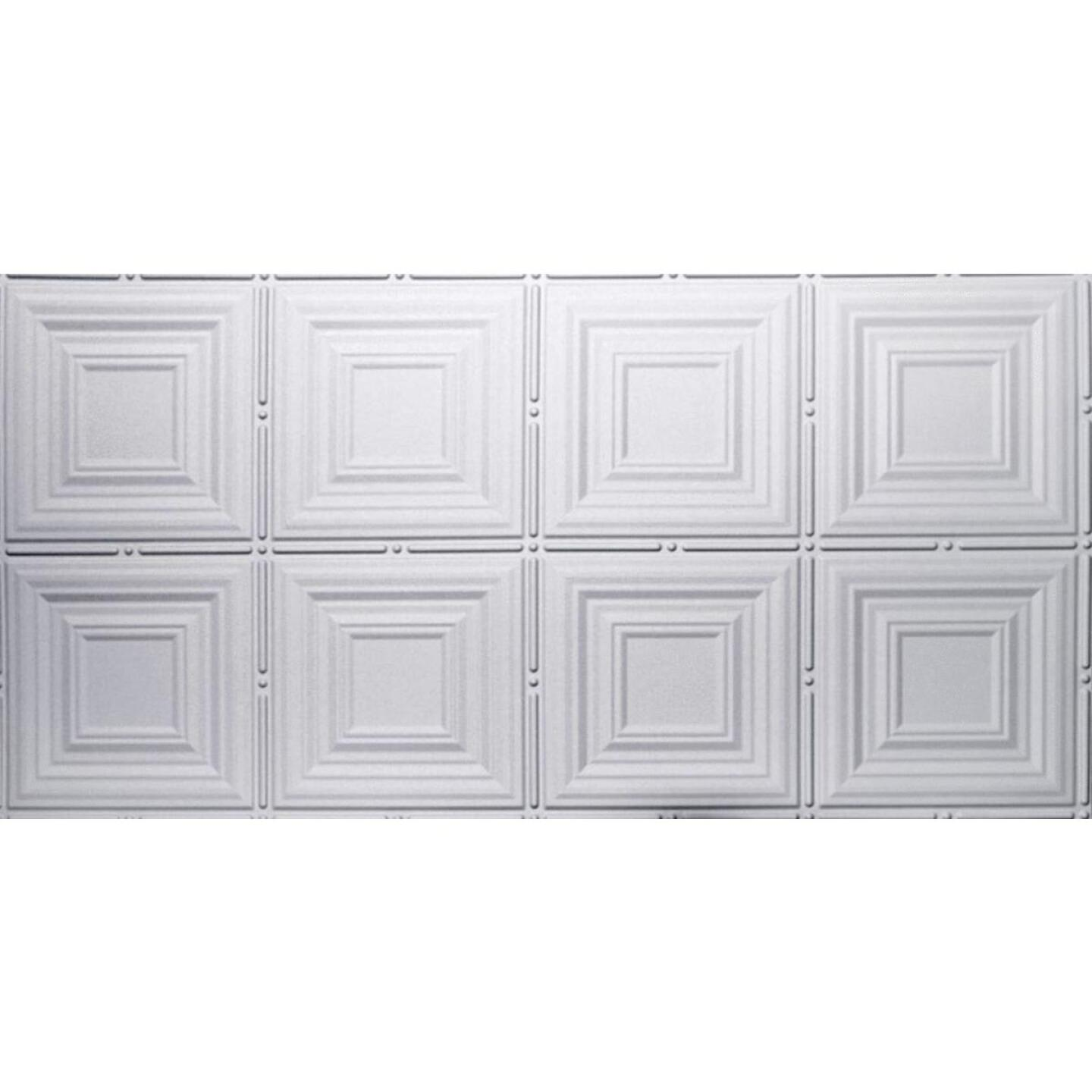 Dimensions 2 Ft. x 4 Ft. White 12 In. Square Pattern Tin Look Nonsuspended Ceiling Tile & Backsplash Image 1