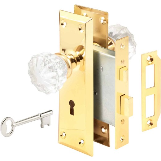 Defender Security Brass Keyed Mortise Entry Lock Set With Glass Knob