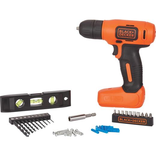 Black & Decker 8 Volt Lithium-Ion 3/8 In. Cordless Drill Home Project Kit
