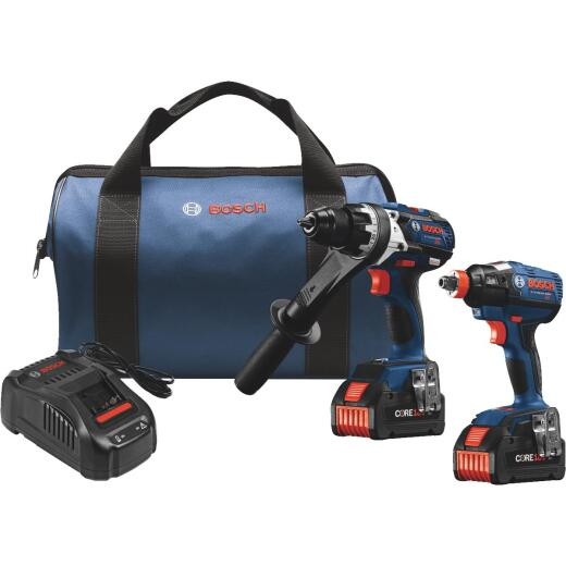 Bosch 2-Tool 18V Lithium-Ion Brushless Hammer Drill/Driver & Impact Driver Cordless Tool Combo Kit