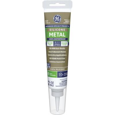 GE Metal Silicone 2 Sealant- Squeeze, Metallic Gray, 2.8oz