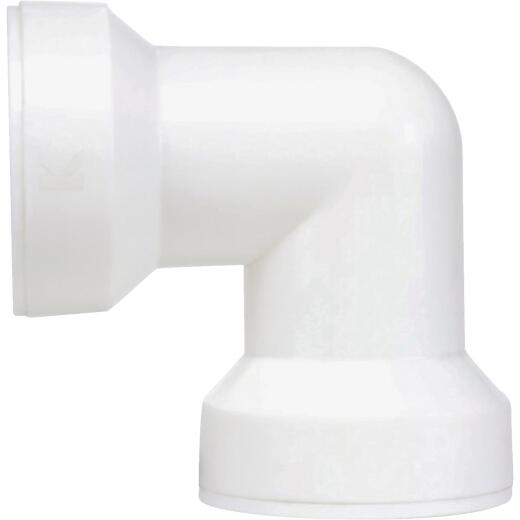 Keeney Insta-Plumb 1-1/2 In. White Plastic 90 Deg. Coupling Elbow