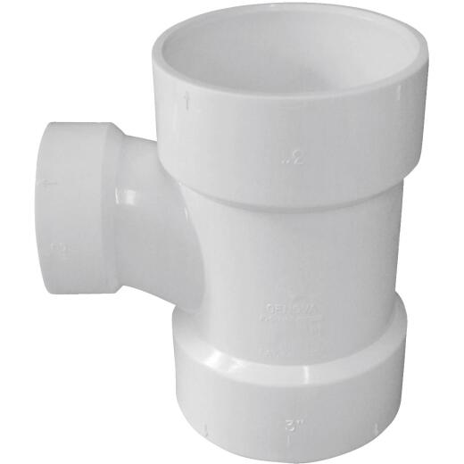 Charlotte Pipe 3 In. x 2 In. Reducing Sanitary PVC Tee