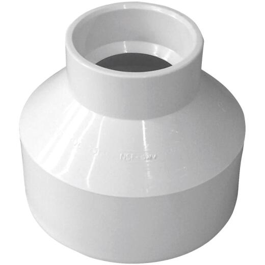 Charlotte Pipe 3 In. Hub x 1-1/2 In. Hub Schedule 40 DWV Reducing PVC Coupling
