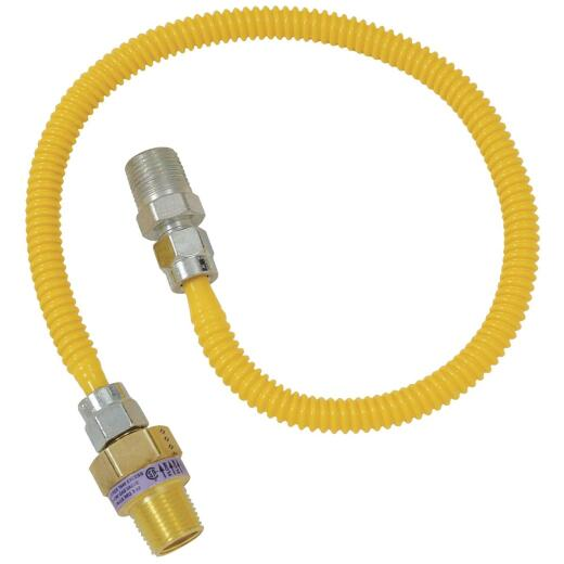 BrassCraft Safety +PLUS 3/8 In. 1/4 In. 24 In. Gas Connector