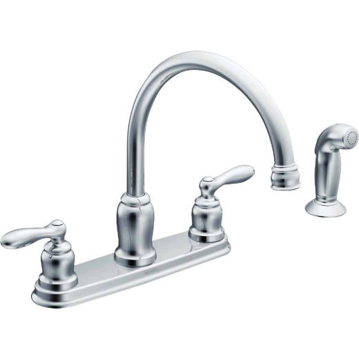 Moen Cladwell Dual Handle Lever Kitchen Faucet with Side Spray, Chrome