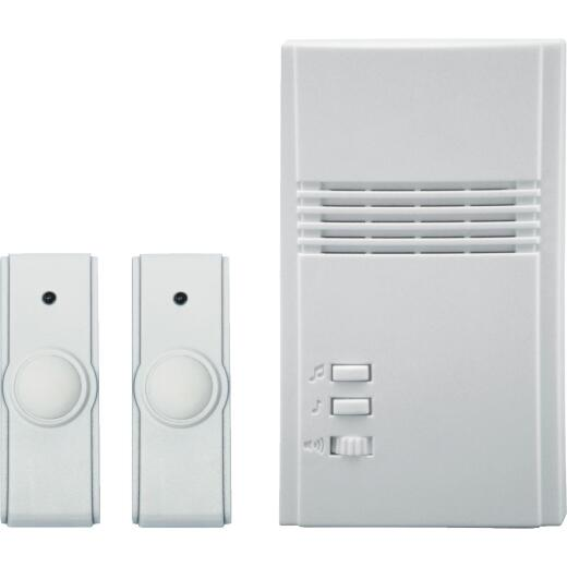IQ America White Plug-In Wireless Off-White Door Chime with 2 Push Buttons