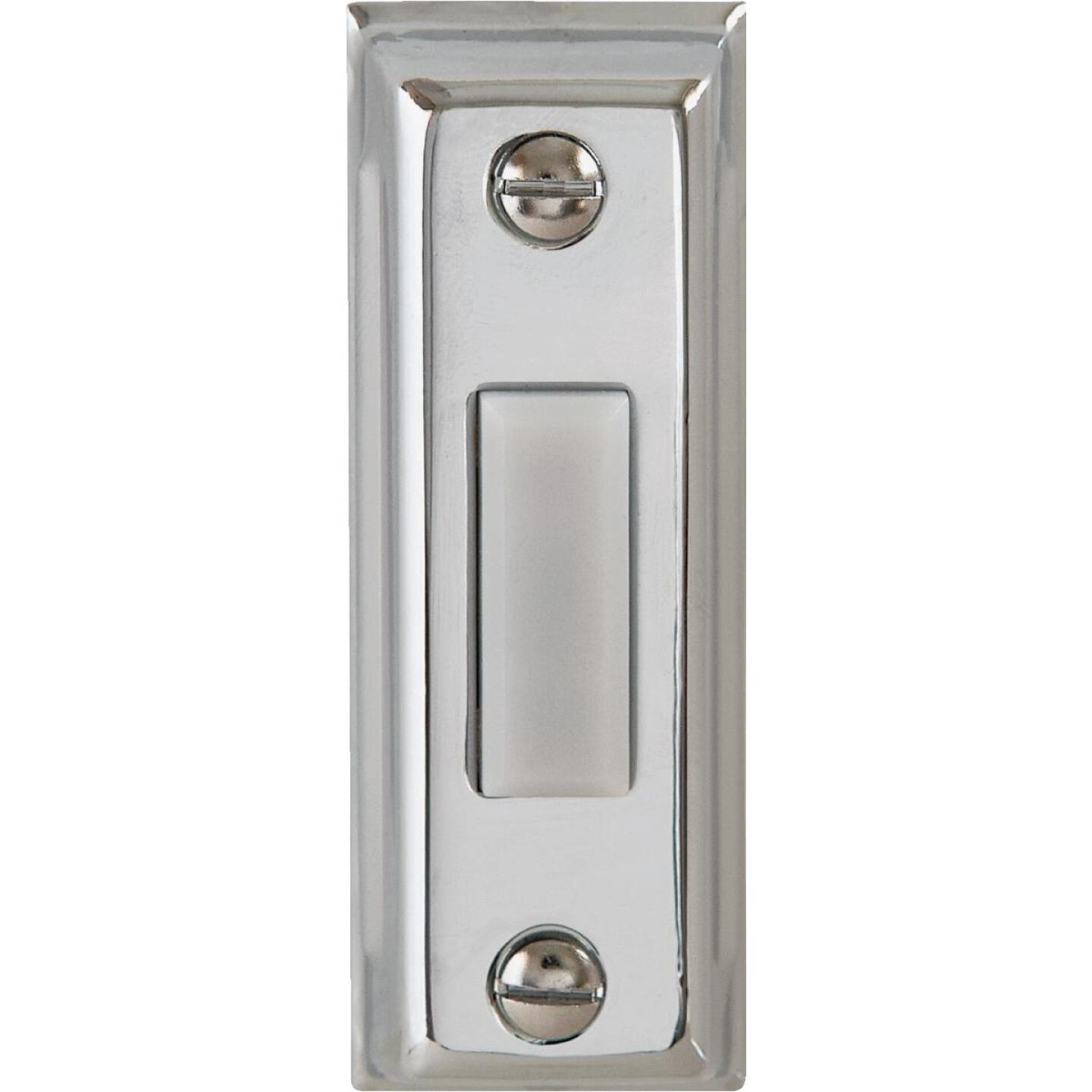 IQ America Wired Silver Rectangular Design Lighted Doorbell Push-Button Image 1