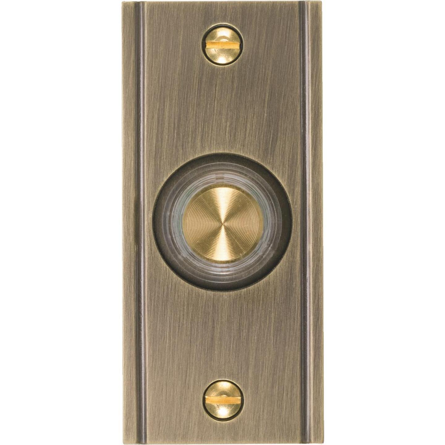 IQ America Wired Antique Brass Lighted Doorbell Push-Button Image 1