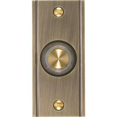 IQ America Wired Antique Brass Lighted Doorbell Push-Button