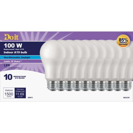 Do it 100W Equivalent Daylight A19 Medium LED Light Bulb (10-Pack)