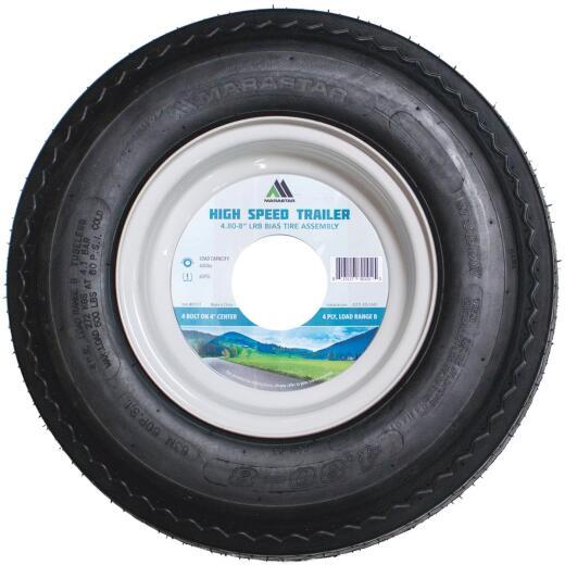 Marastar 4.80-8 In. Load Range B 4-Lug Trailer Tire and Wheel