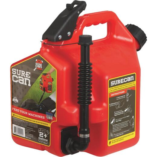 SureCan 2.2 Gal. Plastic Gasoline Fuel Can, Red