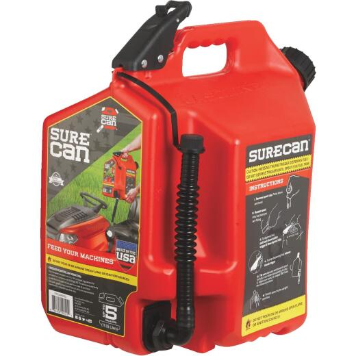 SureCan 5 Gal. Plastic Gasoline Fuel Can, Red