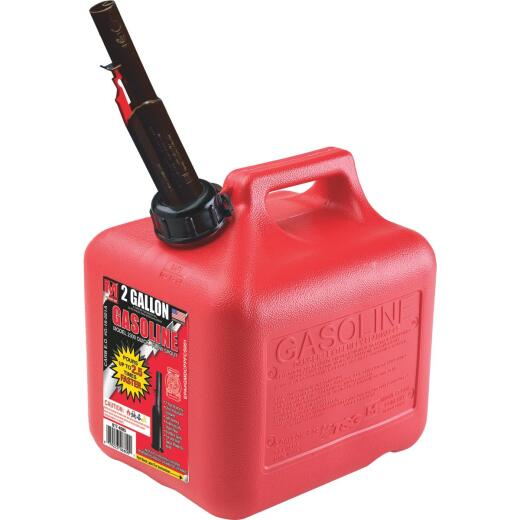 Midwest Can 2 Gal. Plastic Gasoline Fuel Can, Red