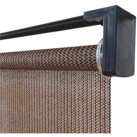 Home Impressions 30 In. x 72 In. Brown Fabric Indoor/Outdoor Cordless Roller Shade