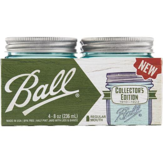 Ball Collector's Edition 1/2 Pint Regular Mouth Aqua Vintage Canning Jar (4-Count)