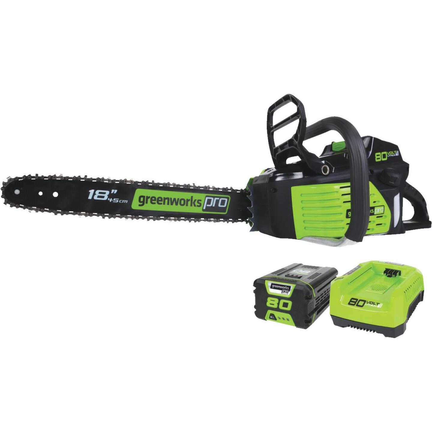 Greenworks Pro 18 In. 80V Lithium Ion Brushless Cordless Chainsaw Image 1