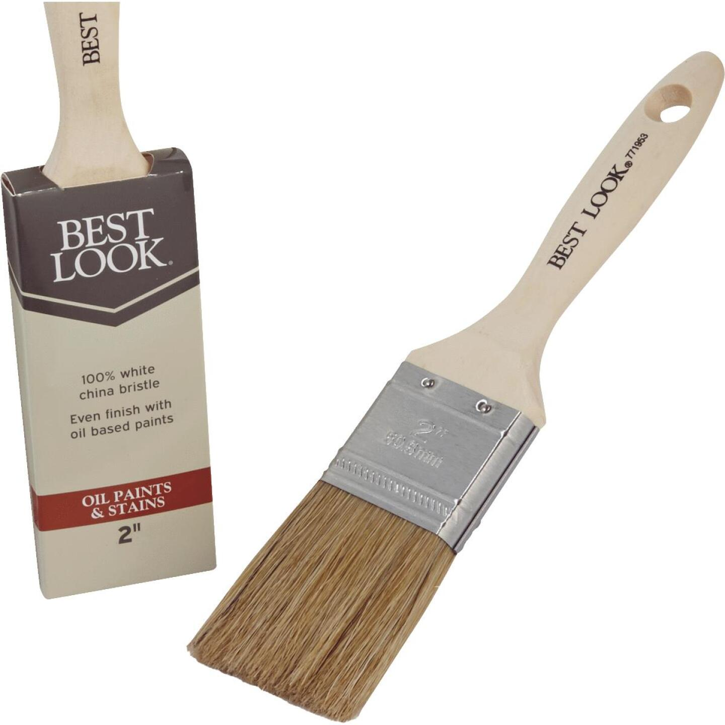 Best Look 2 In. Flat White Natural China Bristle Paint Brush Image 1