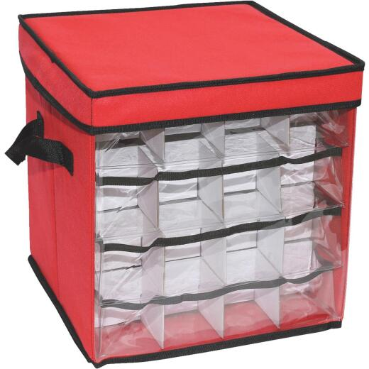 St. Nick's Choice 12 In. Square Polyester Christmas Ornament Storage Cube