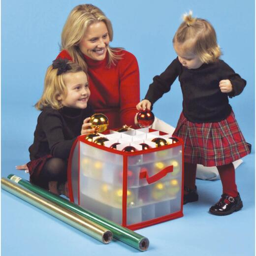 Dyno 12 In. W. x 12 In. H. x 12 In. L. Polypropylene Zip-Up Christmas Ornament Storage Cube
