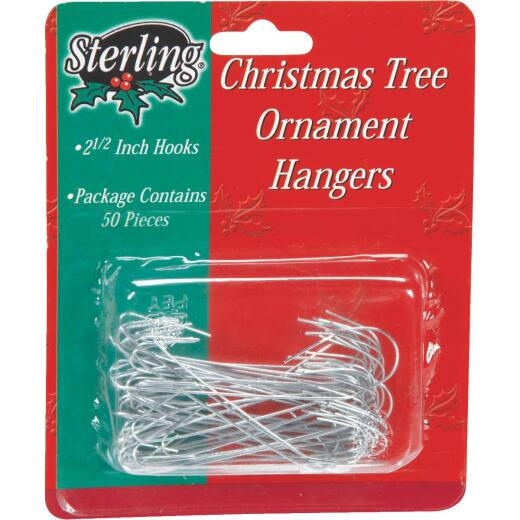 Sterling 2-1/2 In. Silver Christmas Ornament Hooks