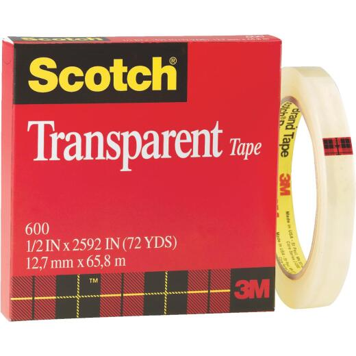 3M Scotch 1/2 In. x 72 Yd. Transparent Tape Refill