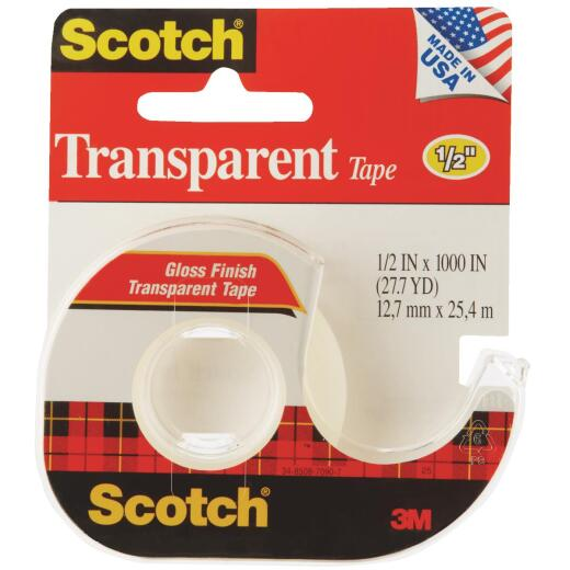 3M Scotch 1/2 In. x 1000 In. Transparent Tape